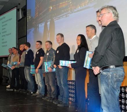 Åtte nye medlemsbedrifter ble presentert på konferansen. Nærmest ser vi far og sønn Harald og Eirik Schalde, Triohus AS, Kristiansund.