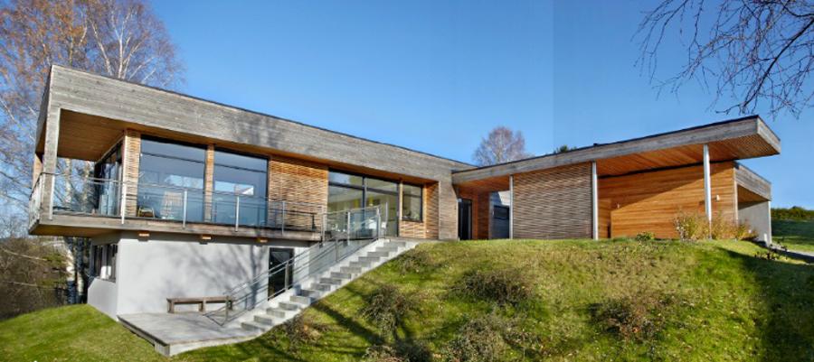 Moderne hus med stilig arkitektur preger det nye kundemagasinet.