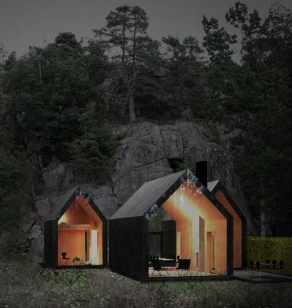 Nylig oppført hytte på Herfell i Larvik. (Illustrasjon Reiluf Ramstad Arkitekter).
