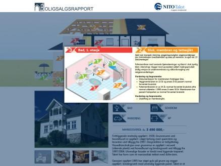 Klikk for stort bilde. Du kan få opp detaljene for hver teknisk mangel i boligen. (Illustrasjon NITO Takst).
