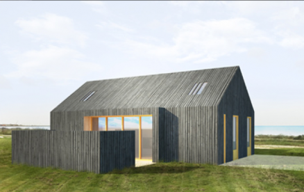Hele huset og saltaket er kledd i de samme trelistene. (Illustrasjon Kontur arkitekter).