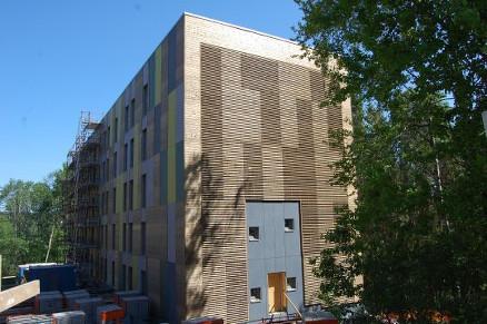 De 328 studentboligene fordeles på 4 blokker på 4 til 6 etasjer.