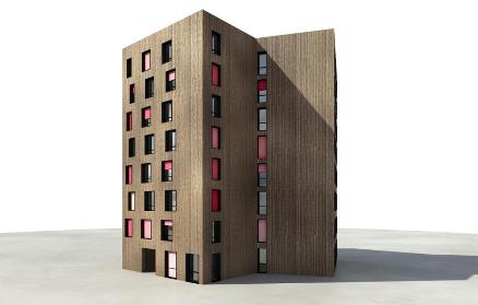 Et avde fem  studentbyggene på åtte etasjer.