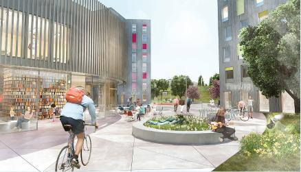 En stor allmenning som skal binde sammen det eksisterende Moholt med de nye bygningene og være et attraktivt, tilgjengelig og naturlig samlingssted og uterom for studentbyen og bydelen. Areal ca. 8000 m2 Totalt bygningsareal ca. 24 000 m2 BTA.
