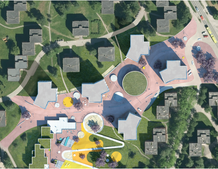 De nye tårnene innpasses med eksisterende studentbygg.