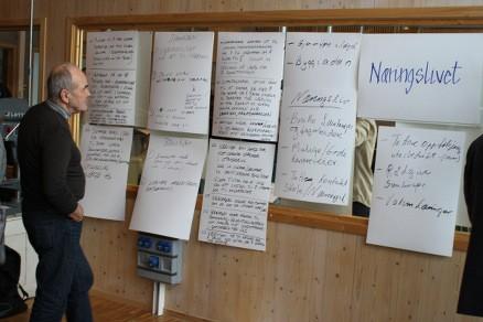 En tavlene med forslag fra gruppenes arbeid.