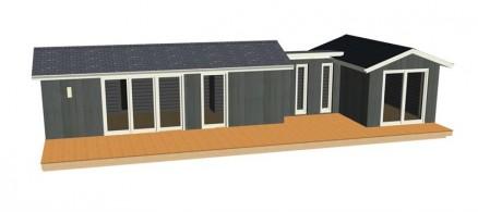 Huset leveres ferdigmalt utvendig og er vinterisolert så det er laget for helårsbruk. Til og med el-istallasjonen er montert og el-uttak, belysning med innfelte spotlights inn- og utvendig er på plass. (Illustrasjon: Enkelrum)