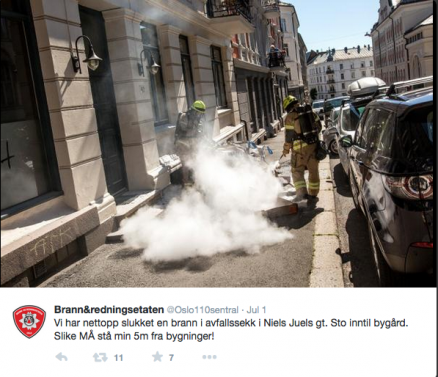 Brannslukning på Frogner i Oslo. (Foto: Oslo brann- og redningsetat)