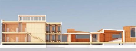 Modell av bygget som er under prosjektering på Campus Evenstad. Arkitekt: Ola Roald Arkitektur (Illustrasjon: Statsbygg)