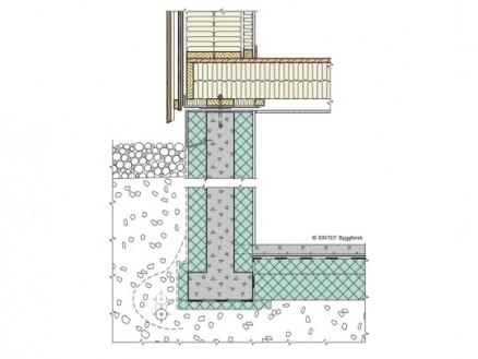 Betongvegg mot terreng isolert med minst 50 % av isolasjonen på utsiden. (Illustrasjon: Sintef Byggforsk)