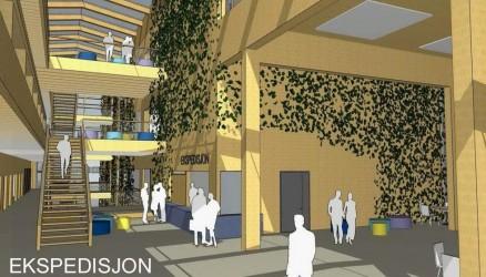 Prosjektet har en ambisiøs satsning på bruk av massivtre, low-tech ventilasjon og lavt energiforbruk (passivhusnivå). (Illustrasjon: HUS arkitekter)