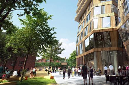 Et av pilotbyggene i forskningsprosjektet Naturligvis er Avantors Gullhaug Torg 2A, et kombinasjonsbygg på 16 etasjer. Der planlegges kontordelen med naturlig ventilasjon, mens boligene får avtrekksvarmepumper som sikrer at energikravene oppfylles. (Illustrasjon: Snøhetta/MIR)