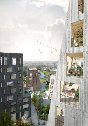 Utsikten fra et av høyhusene i Örnsro Treby.