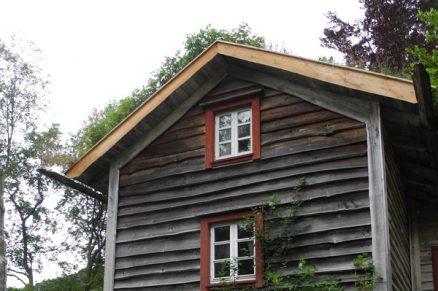 Kledningen gråner med noen nyanser, men står godt mot fuktigheten. Enkelte hjørnebord, vindskier og takrenner som er i direkte kontakt med torv på taket, er det eneste som er råteskadet etter ti år.