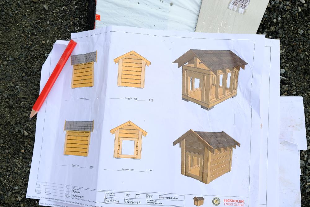 Arbeidstegningene som fagskolestudentene fra Tinius Olsen har laget til prosjektene.