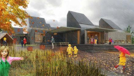 Den framtidige barnehagen slik arkitektene tenker seg den en regnværsdag. (Illustrasjon: Arkitekt Christensen og Co.)