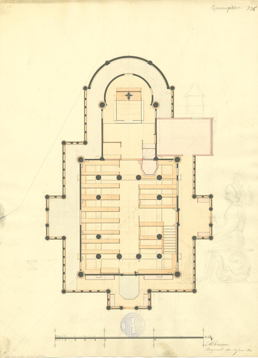 Som sin far var Herman M. Schirmer arkitekt, men hadde ingen stor produksjon. Denne tegningen av Borgund Stavkirke tegnet han da han var 16 år. Legg også merke til skissen av en dame på høyre side. Tegning: Herman M. Schirmer i 1861, Riksantikvaren. (Illustrasjon: Riksantikvaren)