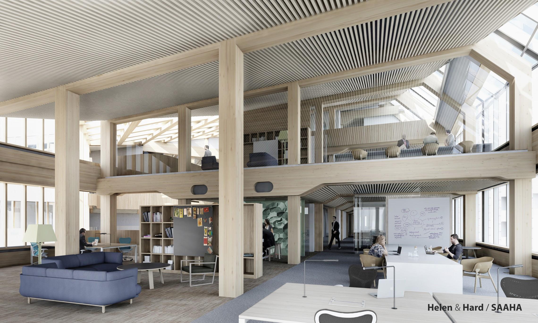 Til slutt i denne bolken presenterte arkitektkontoret Helen og Hard den nye hovedkontoret til SR-Bank, Finansparken, som blir et 5 etasjers kontorbygg på 13000 kvm. (Illustrasjon: Helen & Hard)