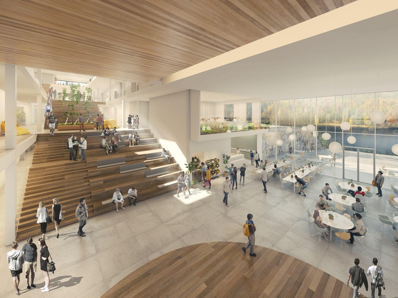Fra skolens inngangsparti åpner etasjene seg oppover i allmenningen, og de som kommer blir møtt med nydelig utsyn mot Mjåvatn. (Illustrasjon: 3D illustratør: Archivisuals, Arkitekt: LINK arkitektur Landskap: Snøhetta)